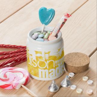Custom Name Pattern on Yellow Stripes Candy Jar