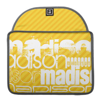 Custom Name Pattern on Yellow Stripes Sleeve For MacBook Pro