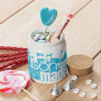 Custom Name Pattern; Sky Blue Stripes Candy Jars