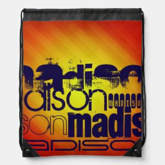 Custom Name Pattern; Yellow Orange Background Drawstring Backpack