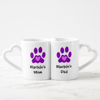 Custom Name Paw Print Pet Mom And Dad Coffee Mug Set