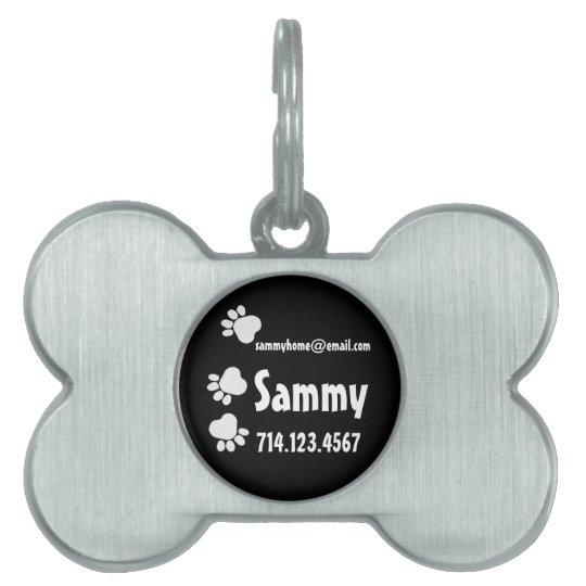 Custom Name Paw Prints Silver Bone Dog Tag
