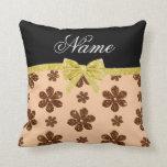 Custom name peach orange glitter flowers gold bow pillow