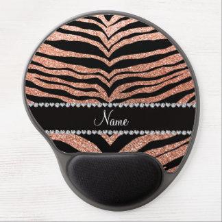 Custom name peach orange glitter tiger stripes gel mouse pad