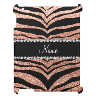 Custom name peach orange glitter tiger stripes iPad case