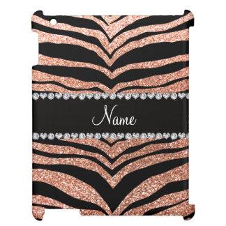 Custom name peach orange glitter tiger stripes iPad case