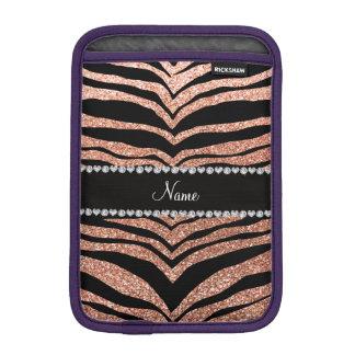 Custom name peach orange glitter tiger stripes iPad mini sleeve