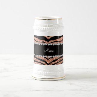 Custom name peach orange glitter tiger stripes coffee mugs