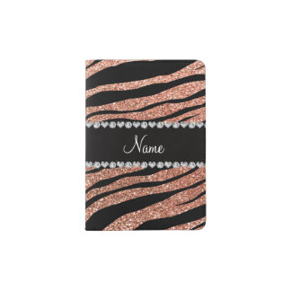 Custom name peach orange glitter tiger stripes passport holder