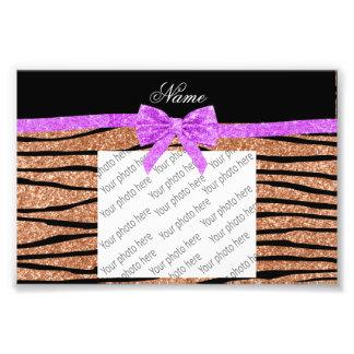 Custom name peach orange glitter zebra stripes bow photo print