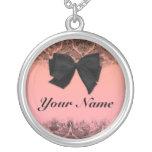 Custom name pendant. Chic, pink, black, bow.
