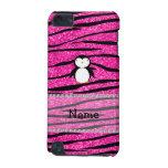 Custom name penguin pink glitter zebra stripes iPod touch 5G cases