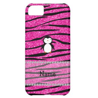 Custom name penguin pink glitter zebra stripes case for iPhone 5C