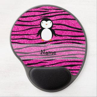 Custom name penguin pink glitter zebra stripes gel mouse pad