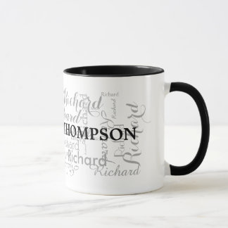 custom name personalized black typography mug