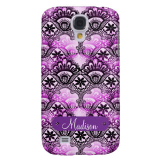 Custom Name Personalized Purple Lace Damask Samsung Galaxy S4 Cover