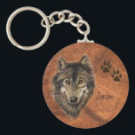 "Custom Name Personalized Wolf &amp; Tracks Keychain<br><div class=""desc"">If you love Wolves or someone you know does this would be a perfect gift. Customize with their name,  nickname,  business name or whatever</div>"