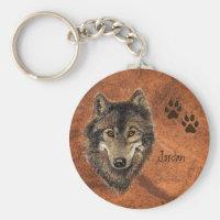 Custom Name Personalized Wolf & Tracks Keychain