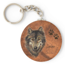 Custom Name Personalized Wolf & Tracks Keychain