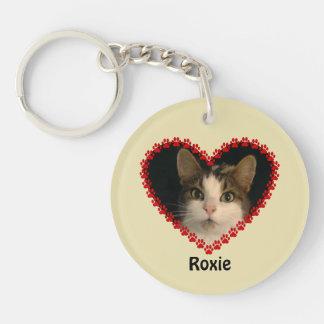 Custom name pet paw prints keychain