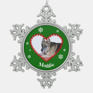 Custom name pet photo paw print heart green snowflake pewter christmas ornament