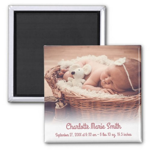Custom Name Photo Baby Girl Birth Announcement Mag Magnet
