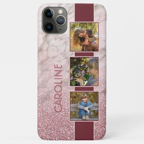 Custom Name Photo Blush Pink Mauve Marble Sparkles Phone Case