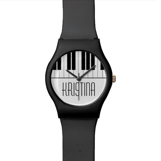 Custom Name Piano Keyboard Music Teacher Student Wristwatch