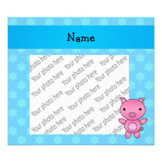 Custom name pig light blue snowflakes photo print