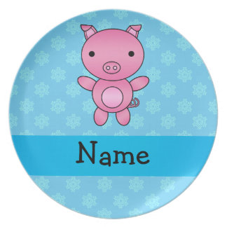 Custom name pig light blue snowflakes party plate