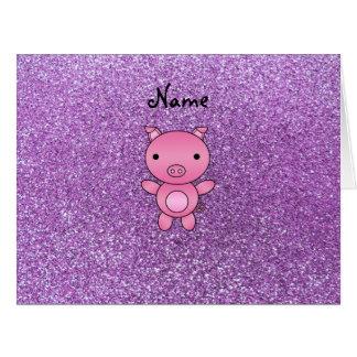 Custom name pig light purple glitter cards