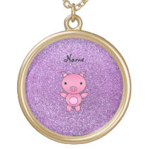 Custom name pig light purple glitter gold plated necklace