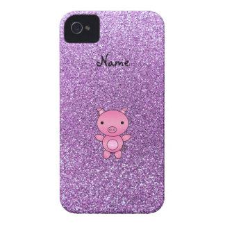 Custom name pig light purple glitter iPhone 4 case