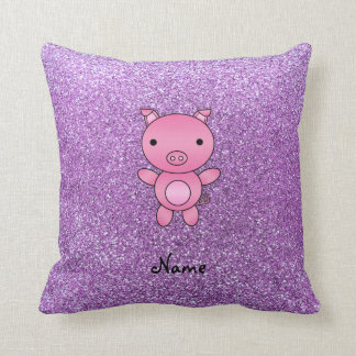Custom name pig light purple glitter throw pillows