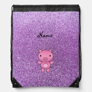 Custom name pig light purple glitter drawstring backpack