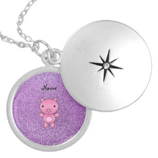 Custom name pig light purple glitter silver plated necklace