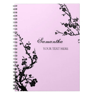 Custom Name Pink and Black Floral Notebook