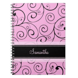 Custom Name Pink and Black Swirls Notebook