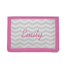 Custom Name Pink And Grey Chevron Wallet For Girls at Zazzle