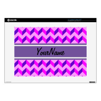 Custom Name Pink and Purple Chevron Patchwork Skins For Laptops