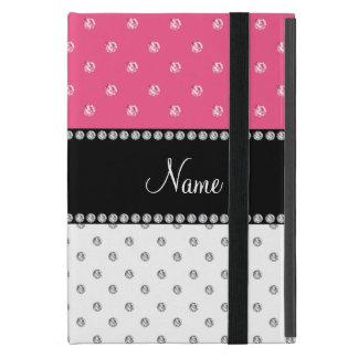 Custom name pink and white diamonds iPad mini case