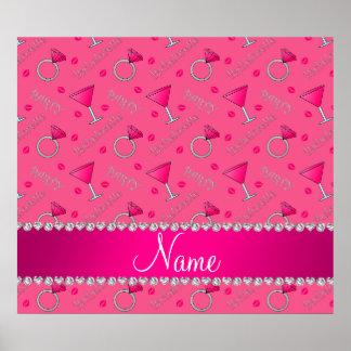Custom name pink bachelorette cocktails rings poster