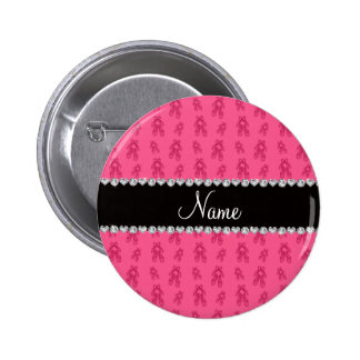 Custom name pink ballet shoes pinback buttons