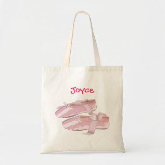 Custom Name Pink Ballet Shoes Tote Bag Template