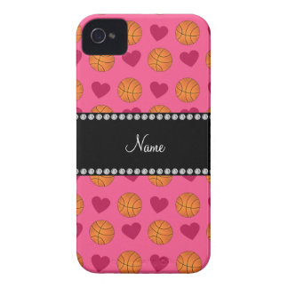 Custom name pink basketballs and hearts Case-Mate iPhone 4 case