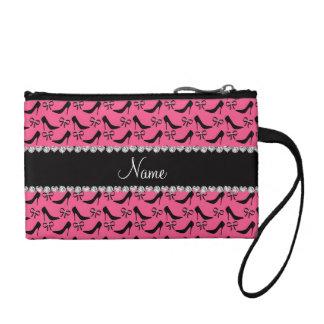 Custom name pink black high heels bow diamonds coin wallet