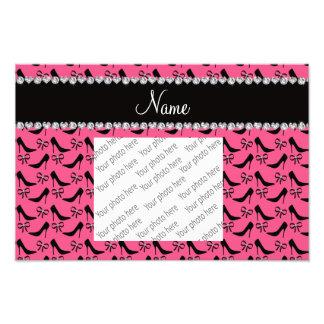 Custom name pink black high heels bow diamonds photo print