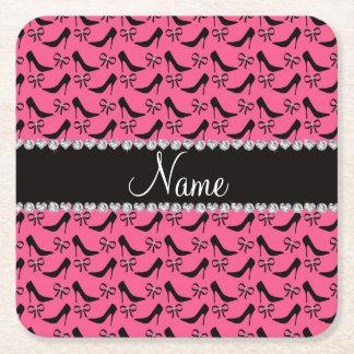 Custom name pink black high heels bow diamonds square paper coaster