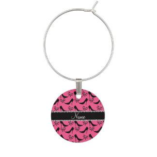 Custom name pink black high heels bow diamonds wine charms
