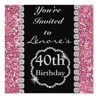 CUSTOM NAME PINK BLING  Birthday INVITATION